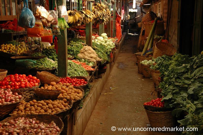 Baskets of Vegetables at Kalaw Market, Burma