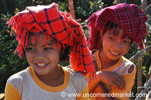 Giggling Girls with Headscarves - Kalaw, Burma