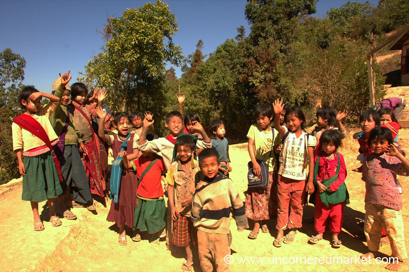 Kids Waving Goodbye - Kalaw, Burma