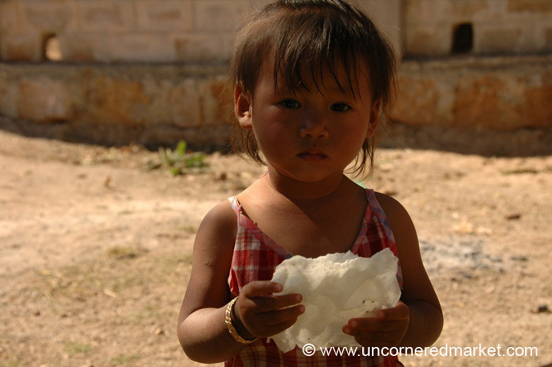 Little Burmese Girl with Puffed Rice Crisps - Kalaw, Burma
