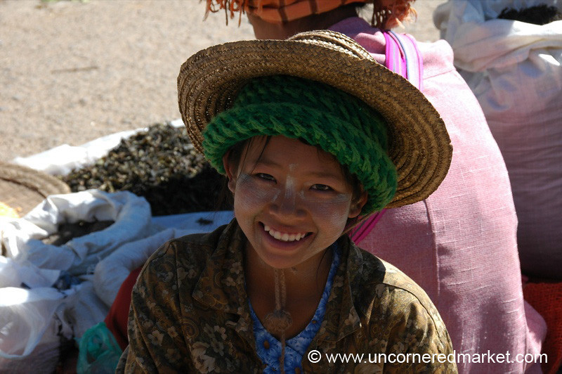 Smiling Burmese Girl with a Hat - Kalaw, Burma