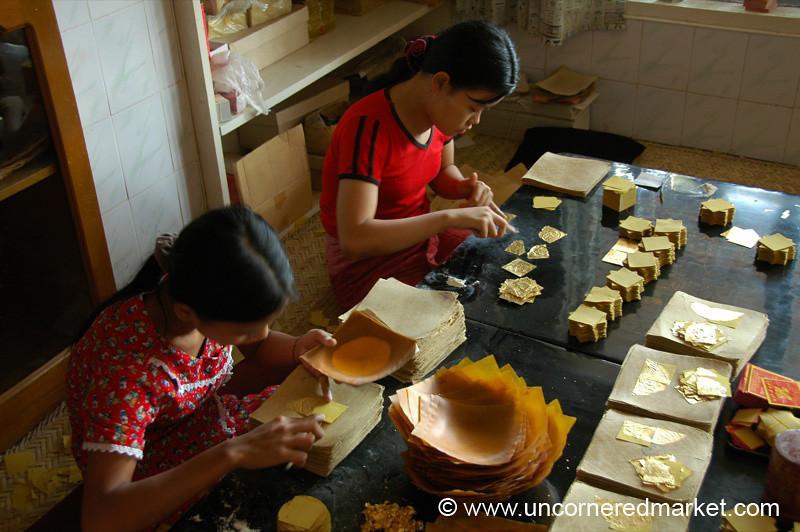 Gold Leaf Makers -  Mandalay, Burma