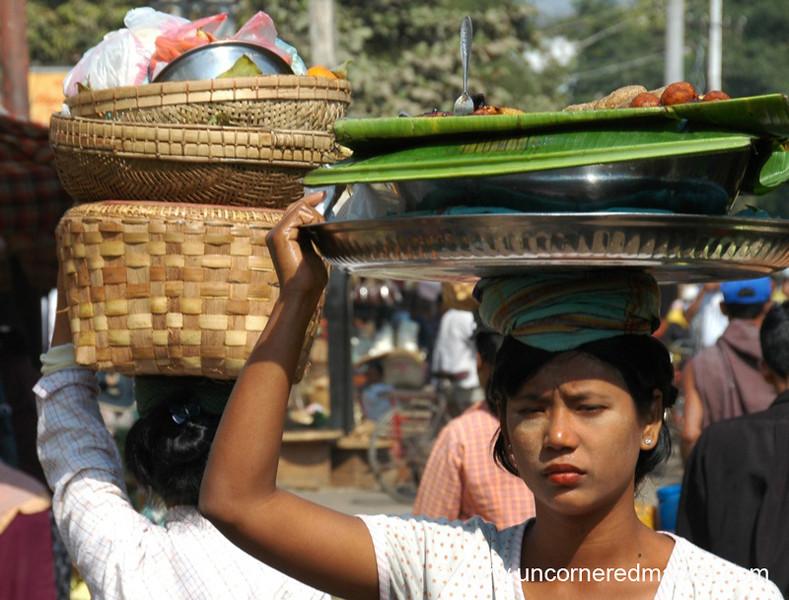 Woman at Market, Balancing Act - Mandalay, Burma