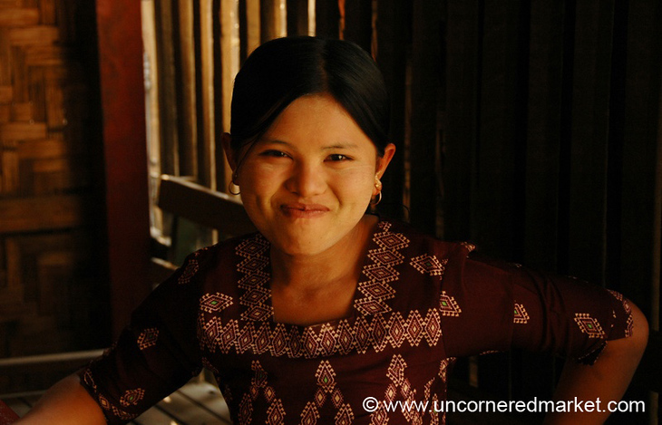 Burmese Woman Trying Not to Laugh - Mandalay, Burma