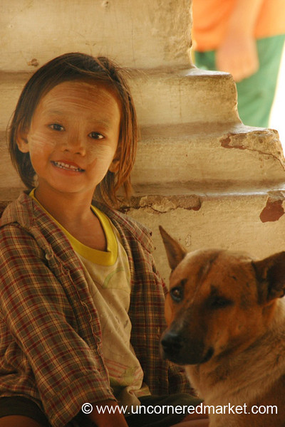 Burmese Girl and Her Dog - Mandalay, Burma