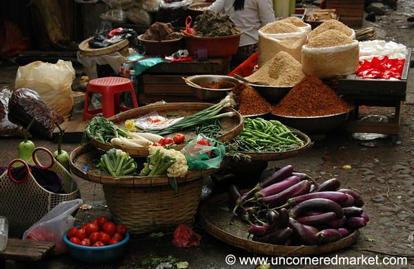 Vegetable Market Scene - Rangoon, Burma (Yangon, Myanmar)