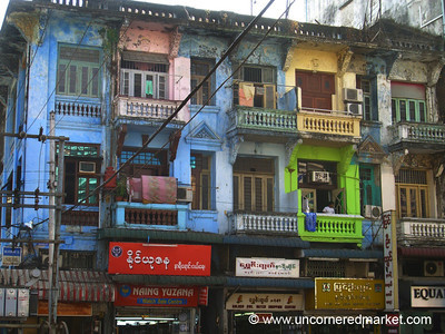 Colorful Buildings - Rangoon, Burma (Yangon, Myanmar)