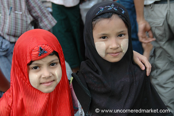Muslim Girls with Thanaka Cheeks  - Rangoon, Burma (Yangon, Myanmar)