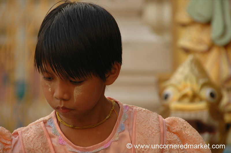 Girl at Shwedagon Pagoda - Rangoon, Burma (Yangon, Myanmar)