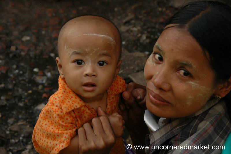 Burmese Mother and Son - Rangoon, Burma (Yangon, Myanmar)