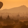 Hot air balloon over the temples of Bagan, Myanmar