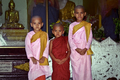 Little girl and boy monks...