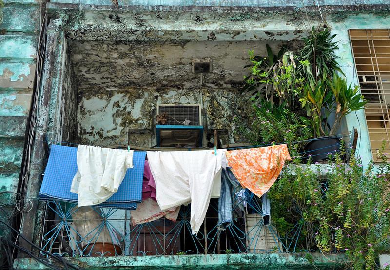 Balcony of local home in Yangon