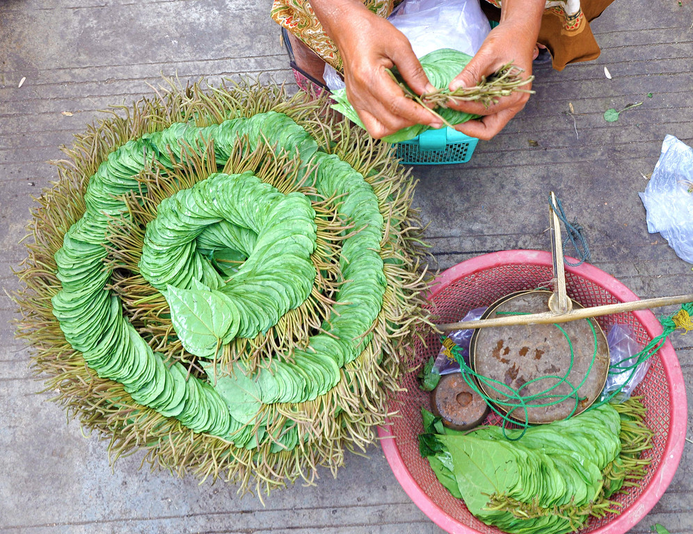 Betel leaves at a market in Mandalay