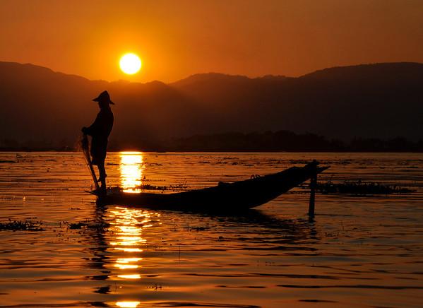 Inle Lake, Burma, Fisherman at Sunset
