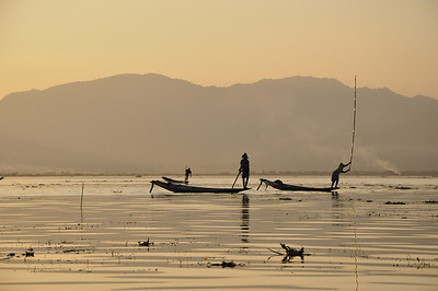 Inle Lake, Burma, Fisherman at Sunset