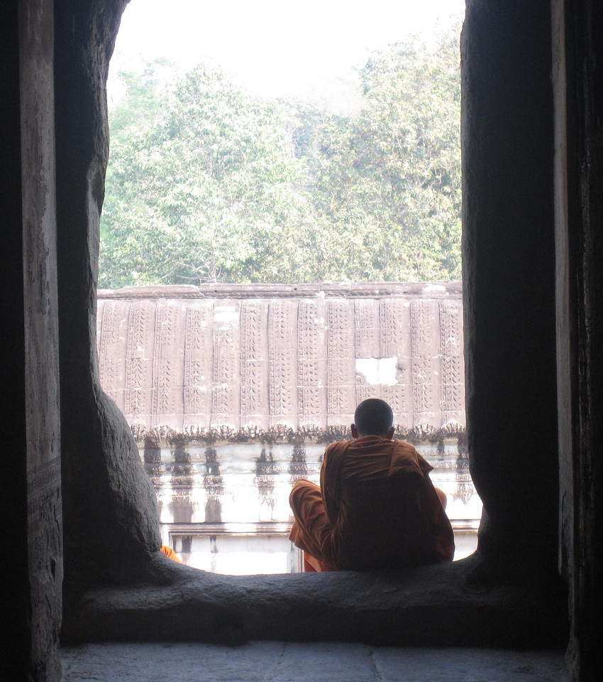 Monks taking a rest at Angkor Wat