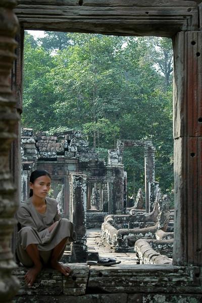 Bayon Attendant - Angkor, Cambodia