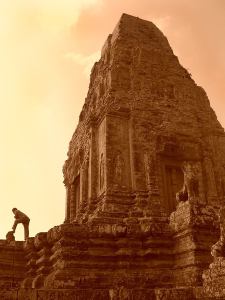 Guide Taking a Break at Pre Rup Temple - Angkor, Cambodia