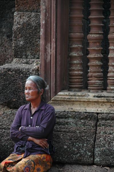 Woman Waiting at Banteay Srei - Angkor, Cambodia