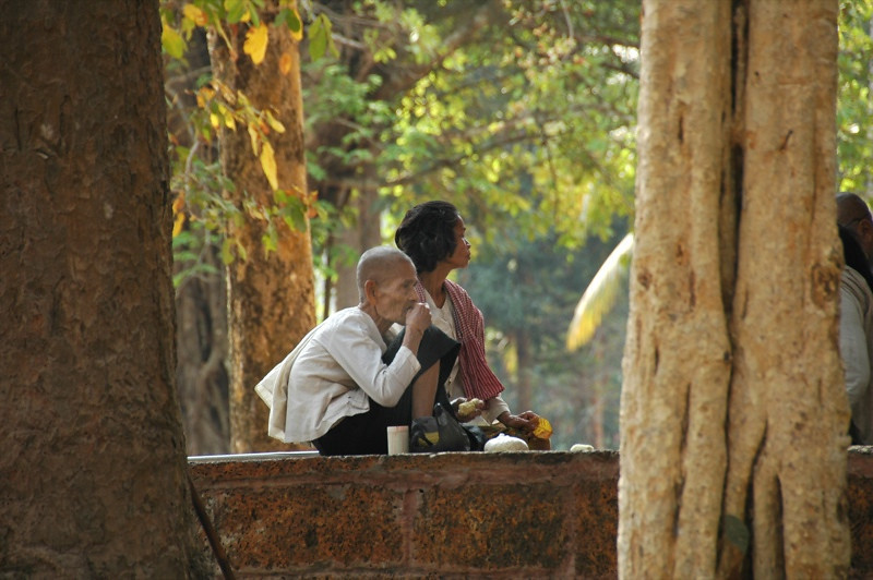 Old Man Waiting for the Monk - Angkor, Cambodia