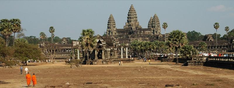 Monks Walking Towards Angkor Wat - Angkor, Cambodia