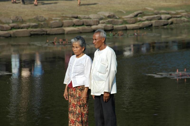 Elderly Couple at Angkor Wat - Angkor, Cambodia