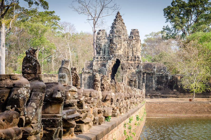 The South Gate Bridge at Angkor Thom.