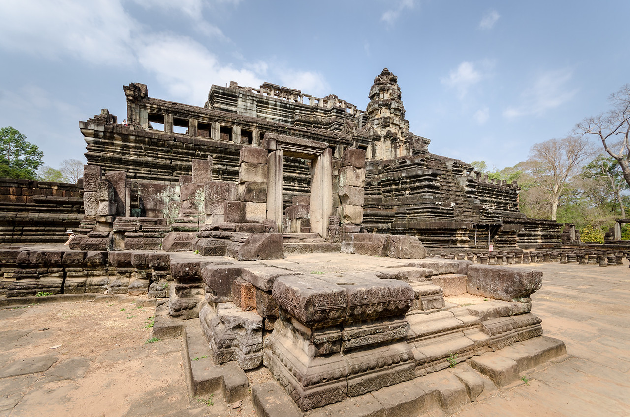 Phimeanakas or Vimeanakas at Angkor, Cambodia, is a Hindu temple in the Khleang style, built at the end of the 10th century, during the reign of Rajendravarman, then completed by Suryavarman I in the shape of a three tier pyramid as a Hindu temple