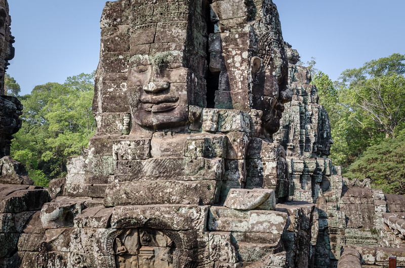 The upper terrace of The Bayon is filled with approximately 200 faces of Lokesvara.
