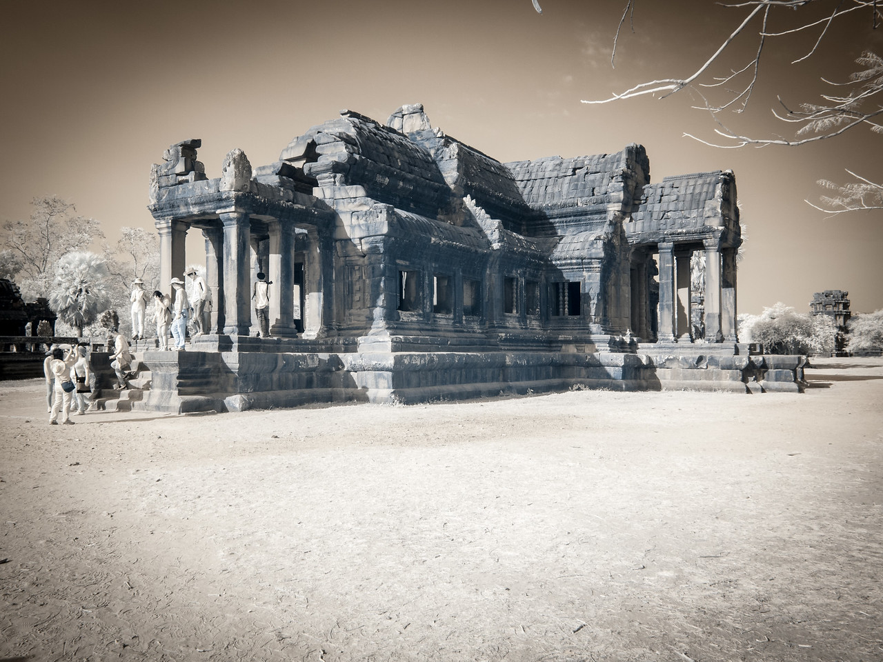 One of the libraries at Angkor Wat in Infrared.