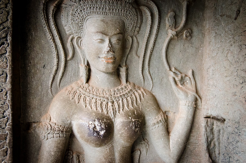 An Aspara carving. An Apsara is a female spirit of the clouds and waters in Hindu and Buddhist mythology.