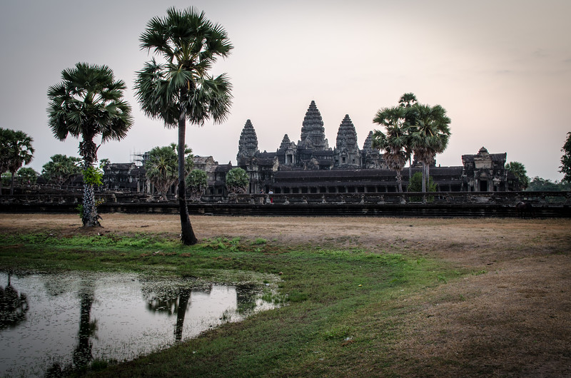 Early on a hazy morning, Angkor Wat.