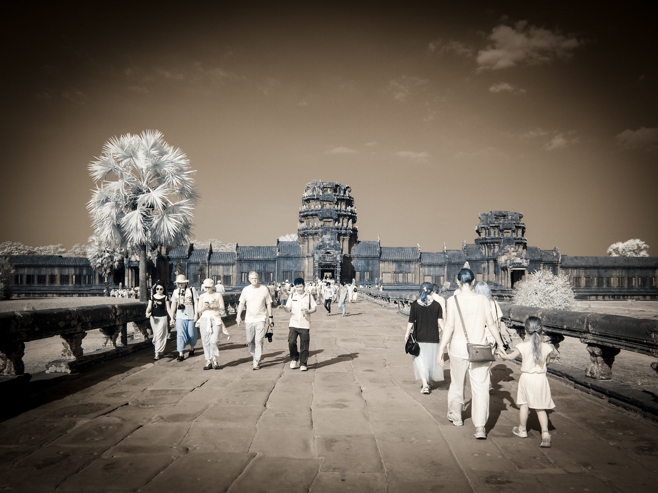 The causeway at Angkor Wat. Infrared photo.