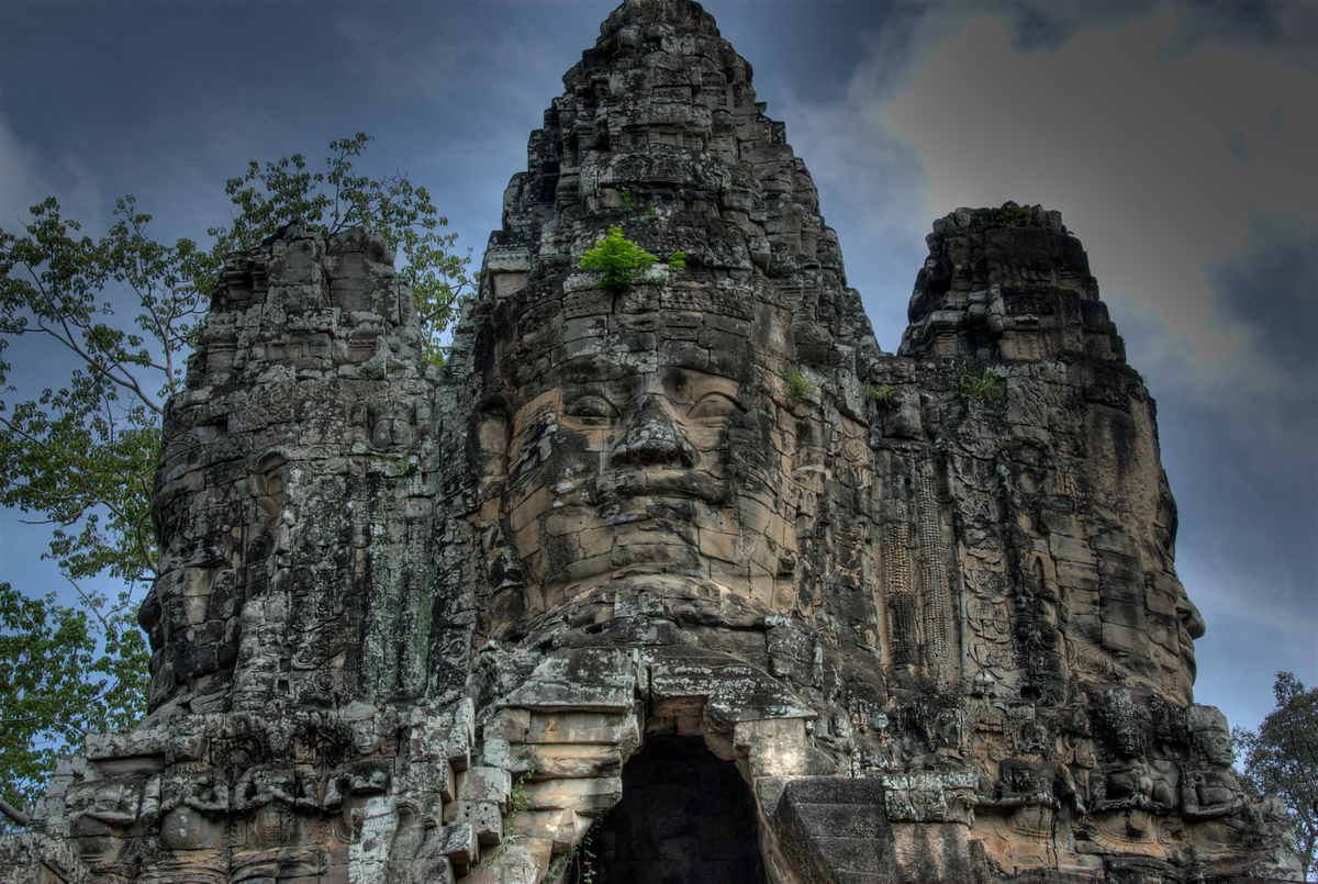 Faces on the Angkor Thom Bridge, Angkor, Cambodia