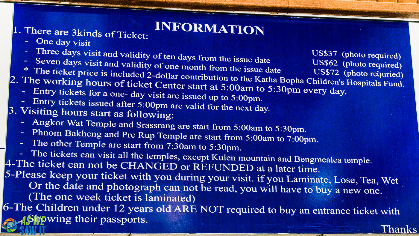 sign at Angkor Wat that shows ticket prices and visiting hours