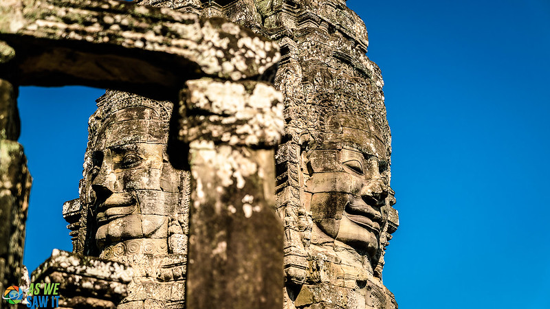 Bayon is part of Angkor Thom and has hundreds of smiling face sculptures like these. Ongoing debate as to who it is, Buddha or the king?