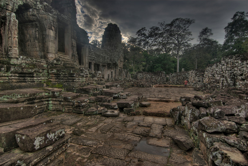 The empty courtyard at Bayon Temple in Cambodia
