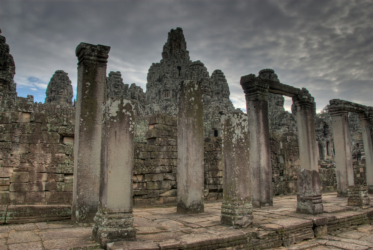 The ruins inside the Bayon Temple in Cambodia