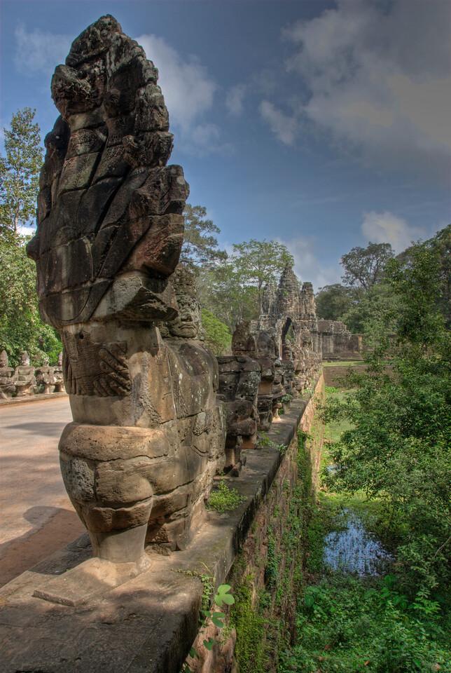 Angkor Thom Gate and Naga bridge in Siem Reap, Cambodia