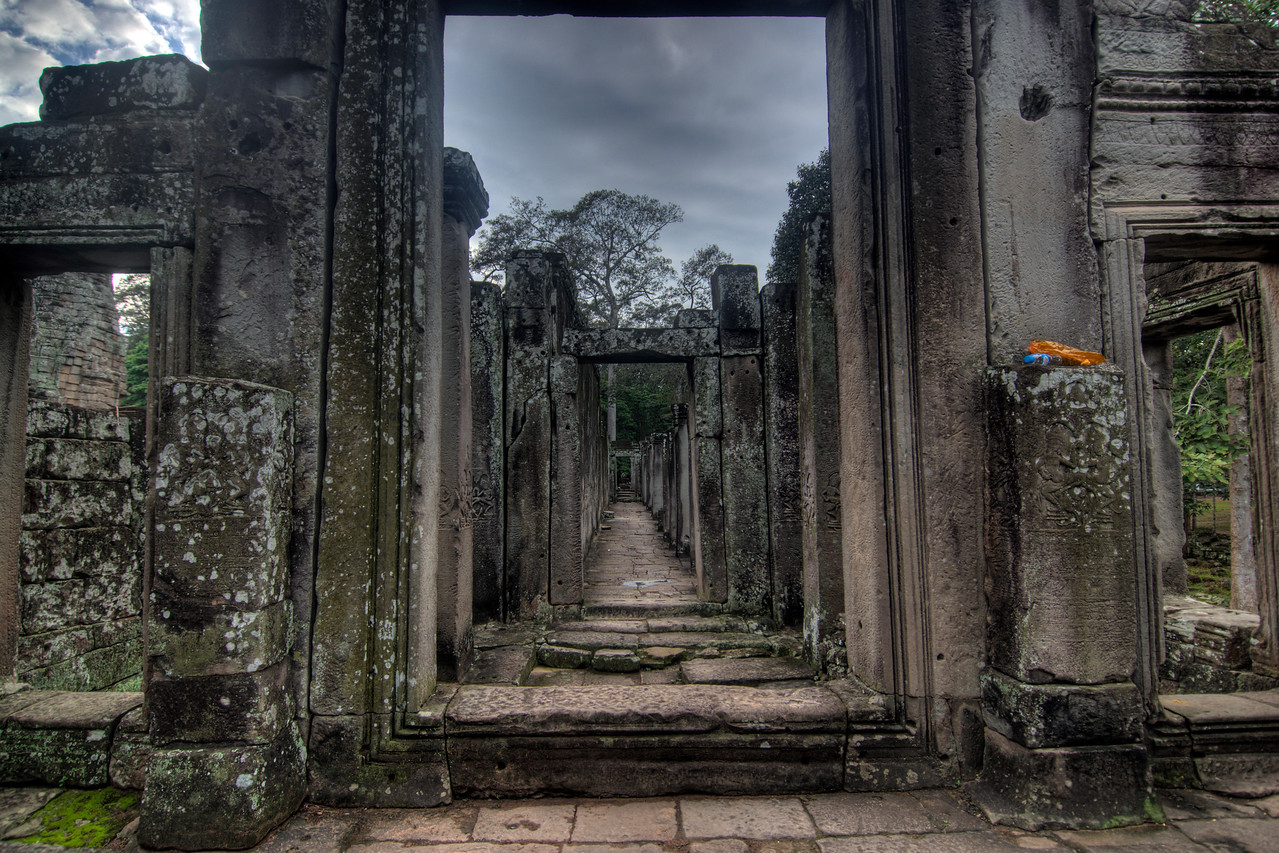 Long and narrow hallway inside the Bayon Temple, Cambodia