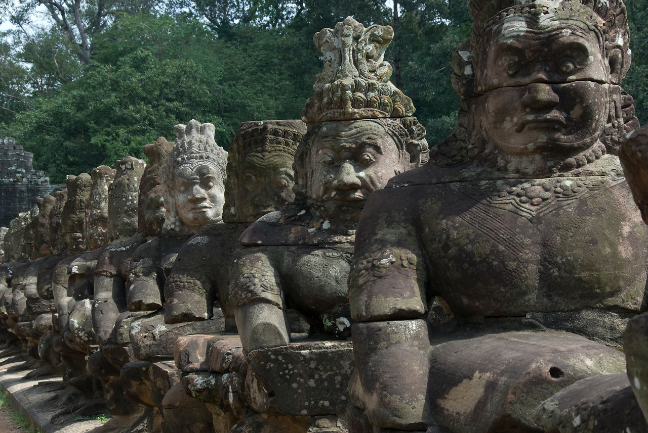 Statues along Angkor Thom Bridge in Cambodia