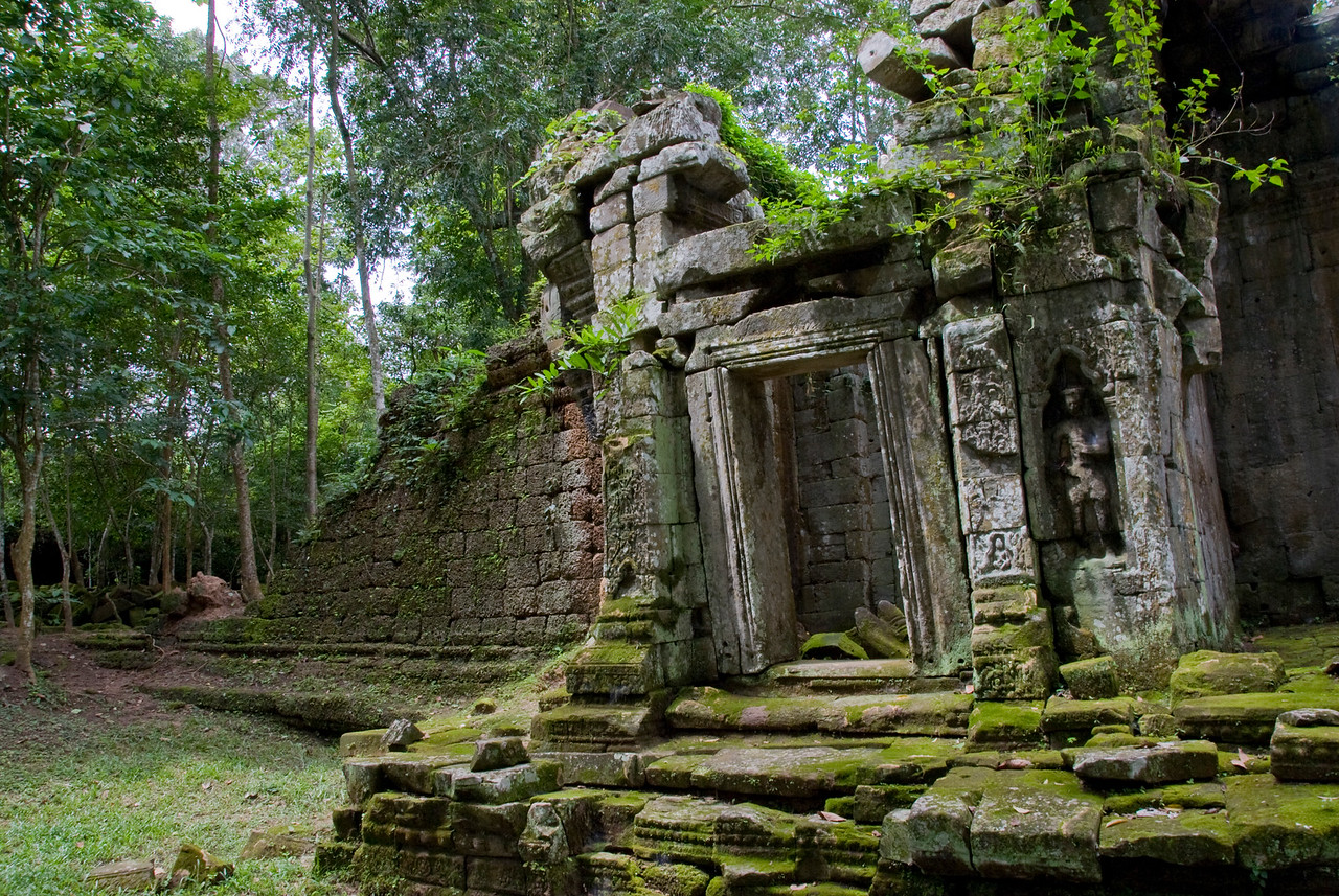 Closer look of old doorway at the back of Angkor Wat ruins