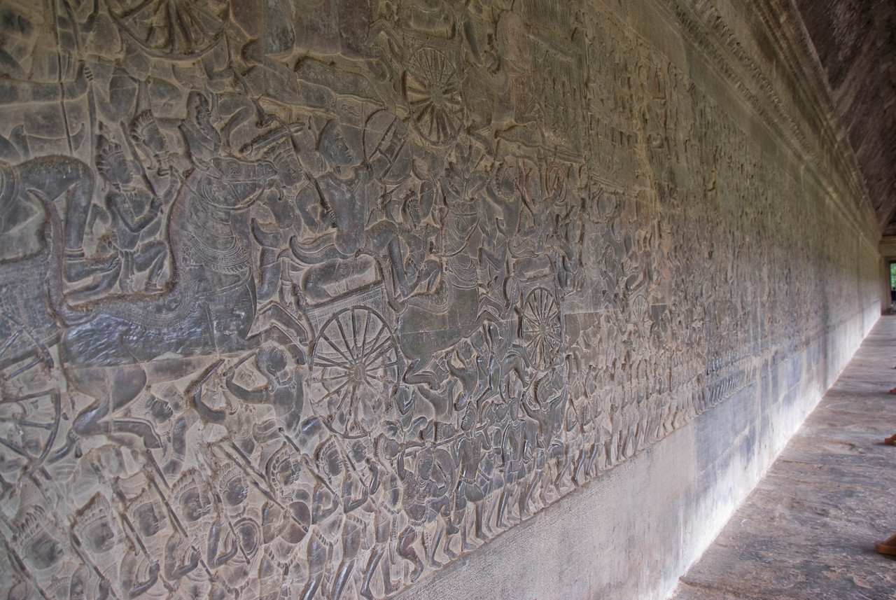 Details of Bas Relief in hallway inside Angkor Wat