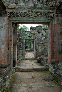 Empty hallway at the Angkor Wat temple ruins