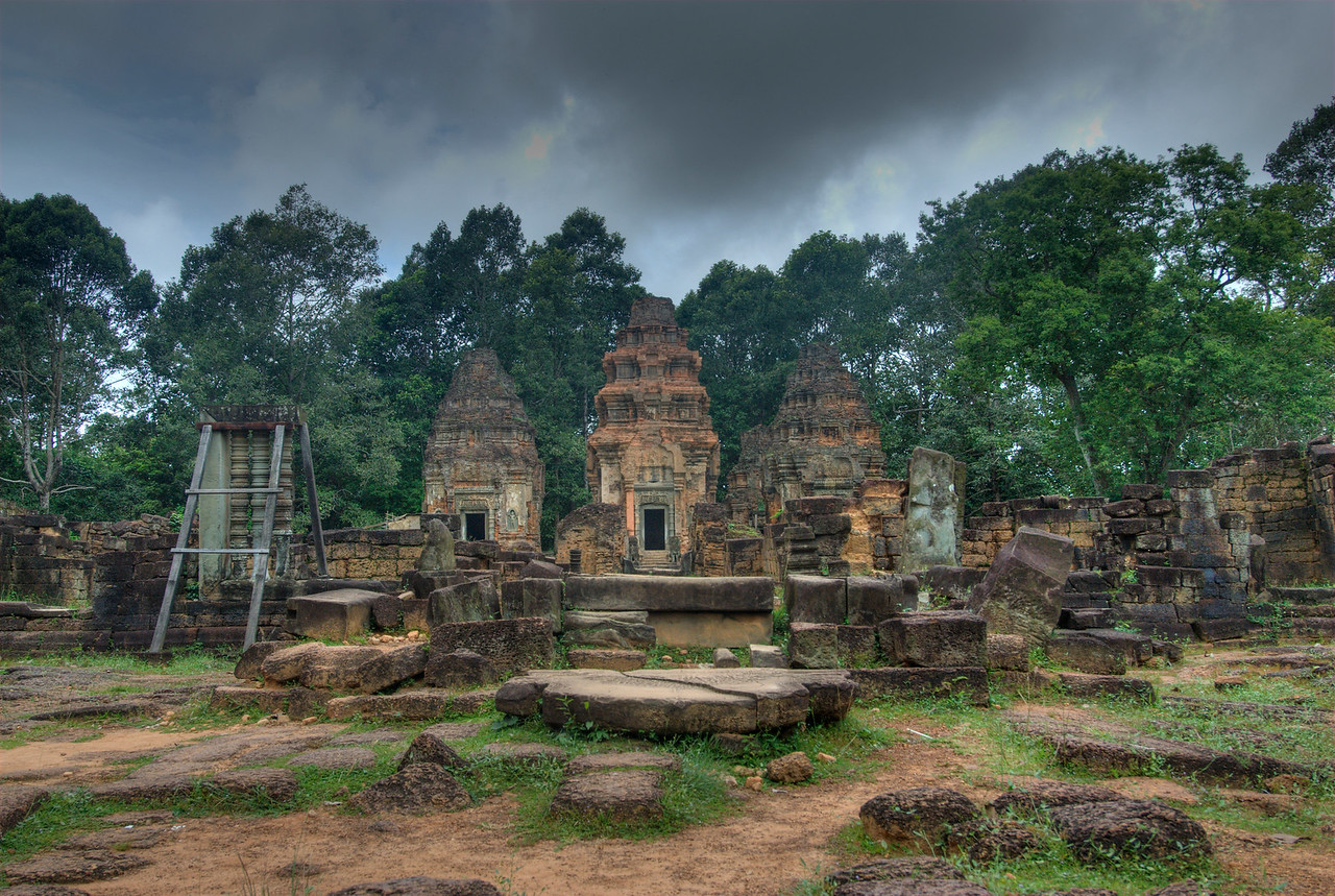 Preah Ko Temple under dark sky in Cambodia