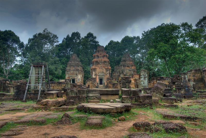 Preah Ko Temple under dark sky in Cambodia