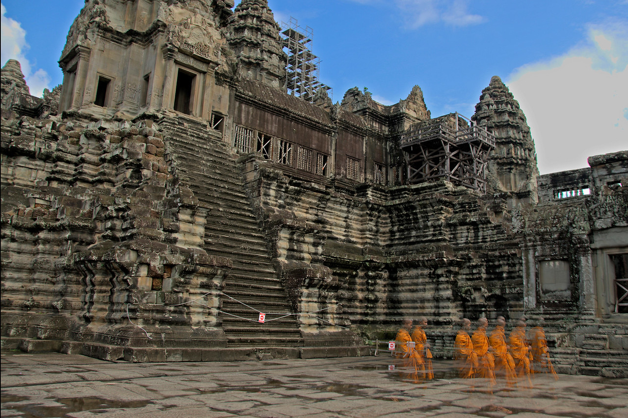Ghostly shot of monks in Angkor Wat