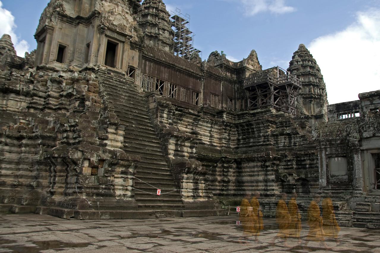 Ghostly shotof monks at Angkor Wat in Cambodia