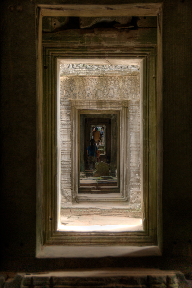 Series of doorways in Preah Kahn, Cambodia